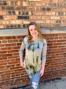 Green Tie Dye Quarter Length Striped Sleeve Top