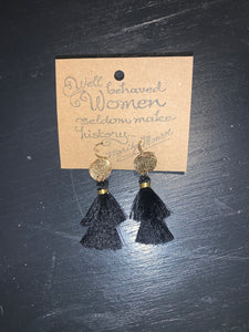 Tassel with Textured Disc Earring