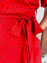 Load image into Gallery viewer, Red Dotted Wrap Dress