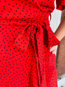 Red Dotted Wrap Dress