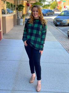 Green Plaid Open Back Long Sleeve