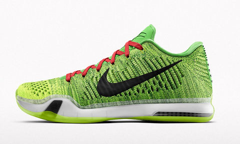 arrives 4c127 42417 Today Nike will release a pair of Kobe 10 that get the  Grinch  colorway  treatment from the Kobe 6. The green   red color way will release on Nike iD .