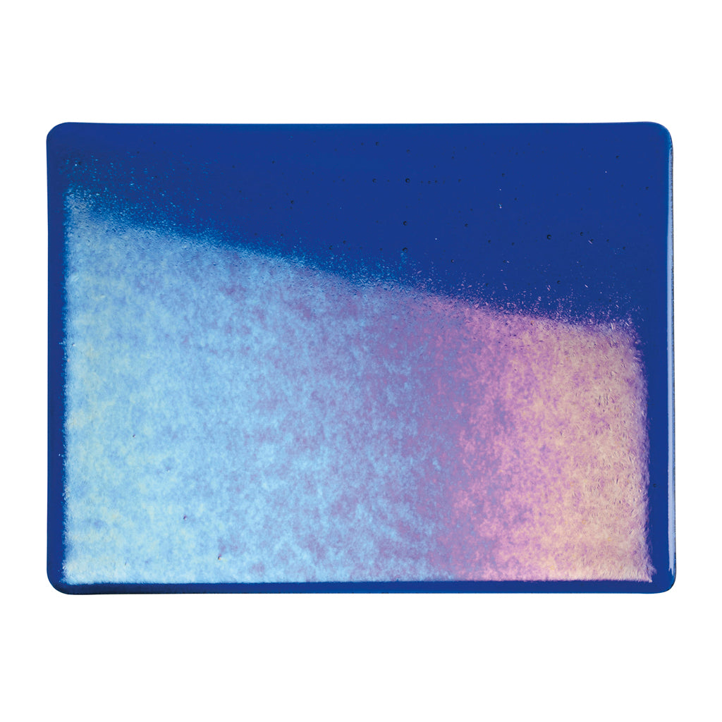 Large Sheet Glass - Deep Royal Blue Iridescent Rainbow - Transparent