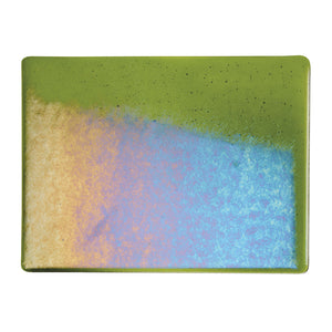 Large Sheet Glass - Olive Green Iridescent Rainbow - Transparent