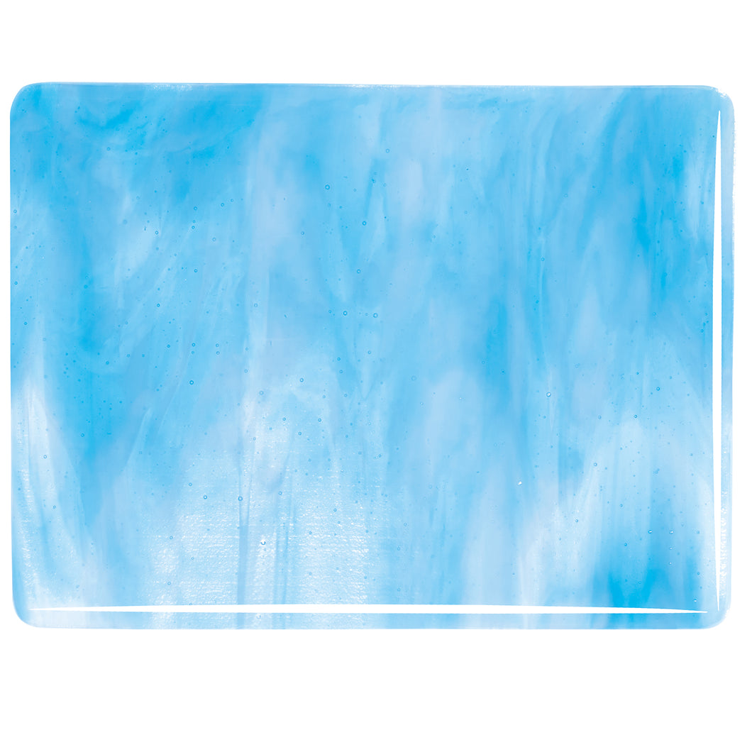 Large Sheet Glass - Clear, Turquoise Blue, White - Streaky