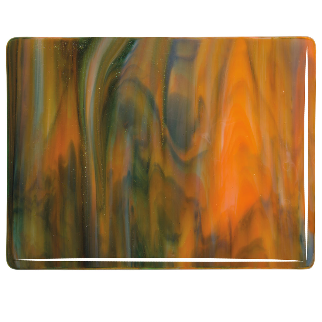 Large Sheet Glass - White, Orange, Deep Forest Green - Streaky