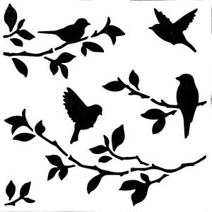 Stencil - Birds on Branches