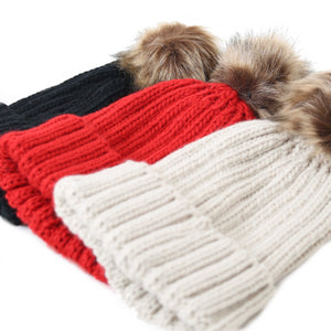 Beauabea Red Cable Knit Faux Fur Hat