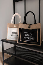 Load image into Gallery viewer, Hello Weekend White Bag