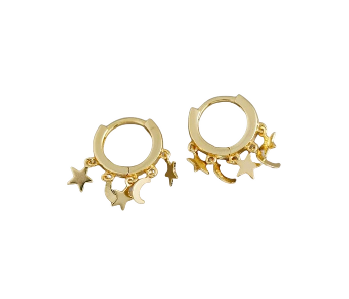 Moon & Star Mini Hoop Earrings