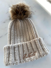 Load image into Gallery viewer, Beauabea Red Cable Knit Faux Fur Hat