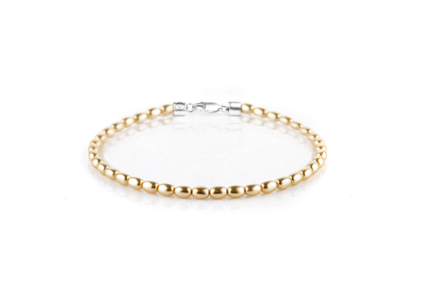 Gold Crystal Pearl, 2.8x4mm, Silver bracelet