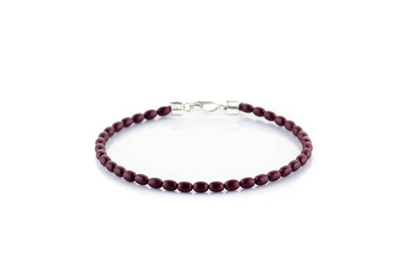 Elderberry Crystal Pearl, 2.8x4mm, Silver bracelet