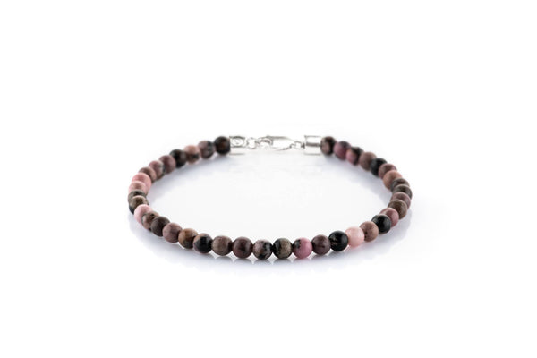 Rhodonite, 4mm, Silver bracelet