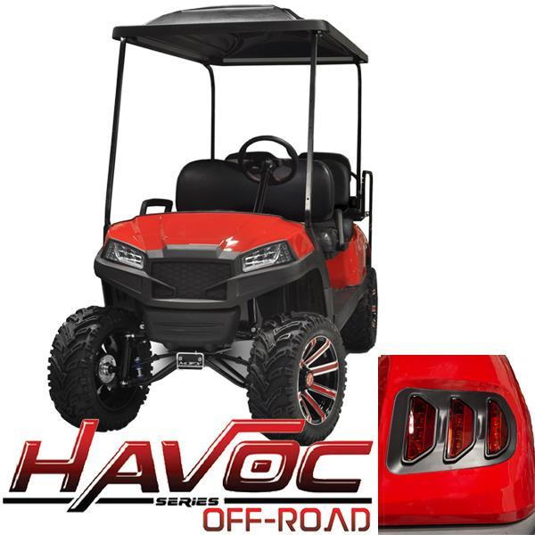 Red Havoc Body Kit w/ Off-Road Fascia & Light Kit for 2007-2016 Yamaha G29/Drive
