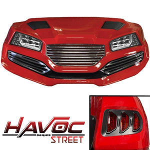 Red Havoc Body Kit w/ Street Style Fascia & Light Kit for 2007-2016 Yamaha G29/Drive
