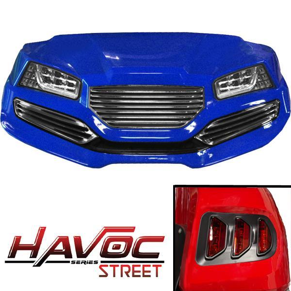 Blue Havoc Body Kit w/ Street Style Fascia & Light Kit for 2007-2016 Yamaha G29/Drive