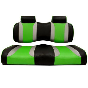 TSUNAMI Front Seat Cushions, Club Car Precedent, Black w/Silver Rush & Green Wave 2012 and Up