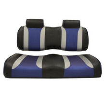 Load image into Gallery viewer, TSUNAMI Front Seat Cushions, Club Car Precedent, Black w/Silver Rush & Blue Wave 2012 and Up