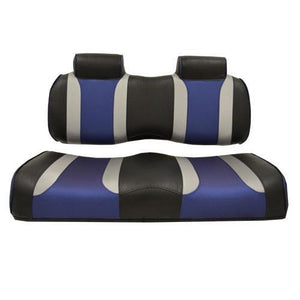 TSUNAMI Front Seat Cushions, Club Car Precedent, Black w/Silver Rush & Blue Wave 2012 and Up