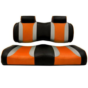 TSUNAMI Golf Cart Front Seat Cushions, EZGO TXT/RXV, Black w/Liquid Silver Rush & Orange Wave