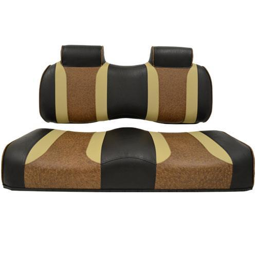 TSUNAMI Golf Cart Front Seat Cushions, EZGO TXT/RXV, Black w/Autumn & Brown Ostrich