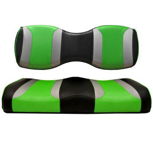 TSUNAMI Rear Golf Cart Seat Cushions Genesis 250/300 Black w/Liquid Silver Rush & Green Wave