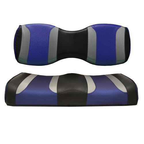 TSUNAMI Golf Cart Rear Seat Cushions for Genesis 250/300 Black w/Liquid Silver Rush & Blue Wave