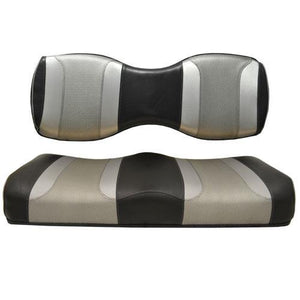 TSUNAMI Golf Cart Rear Seat Cushions for Genesis 250/300 Black w/Liquid Silver Rush & Liquid Silver Wave