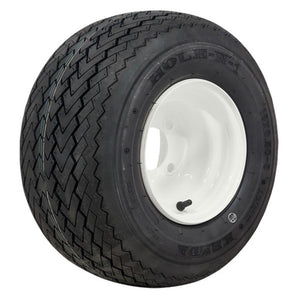 8-Inch White Steel Wheels on Mounted on Kenda Tires (Set of 4)