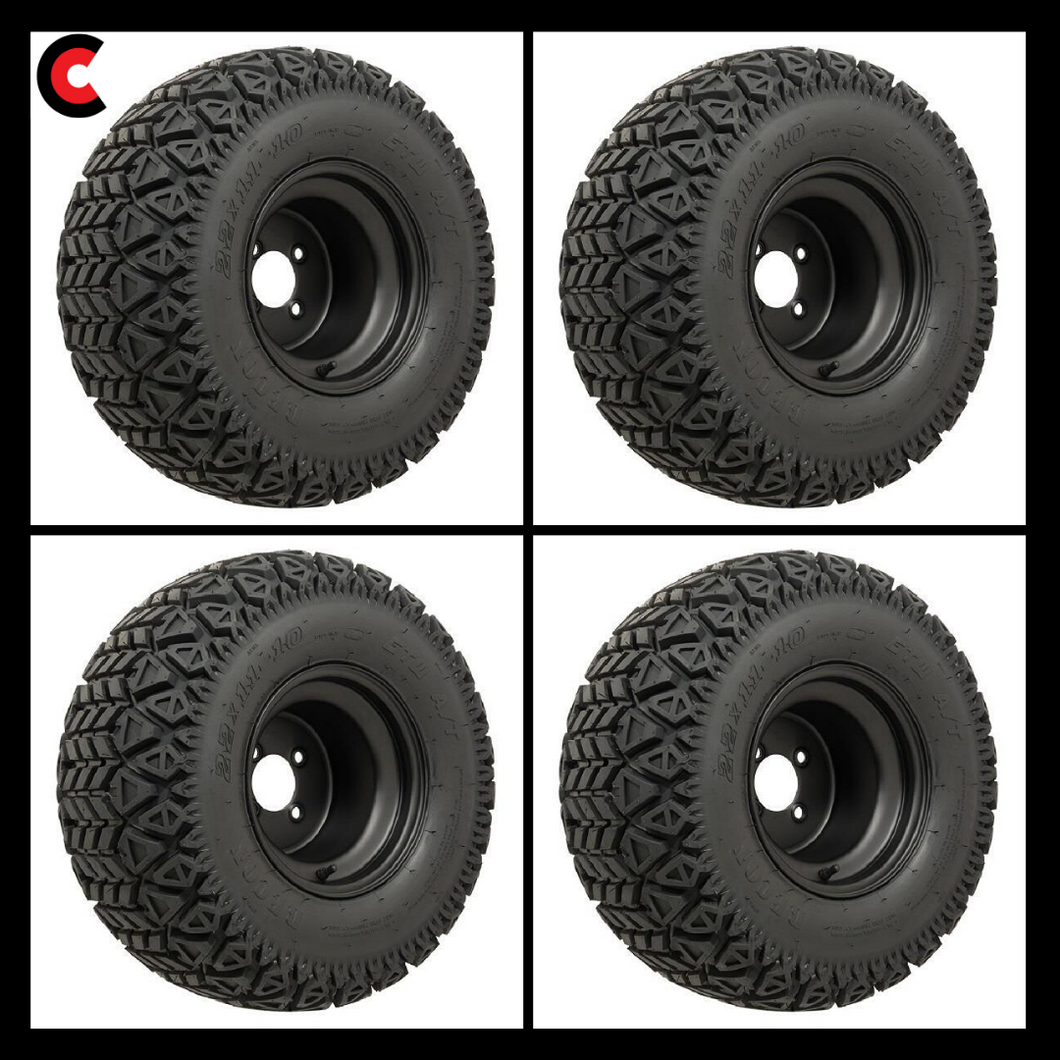 10-Inch Black Steel Wheels on GTW Recon All-Terrain Tires (Set of 4)