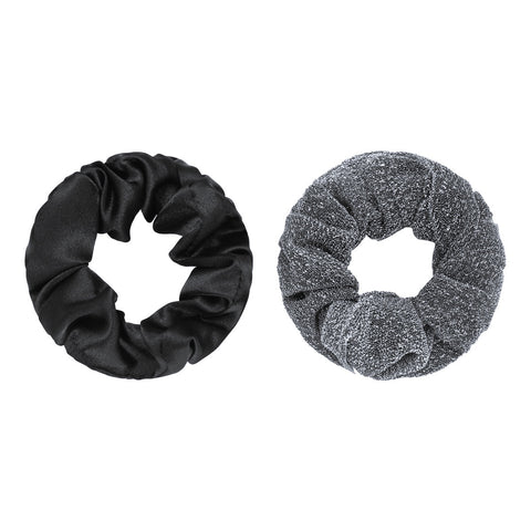 Scrunchie set of two black & silver