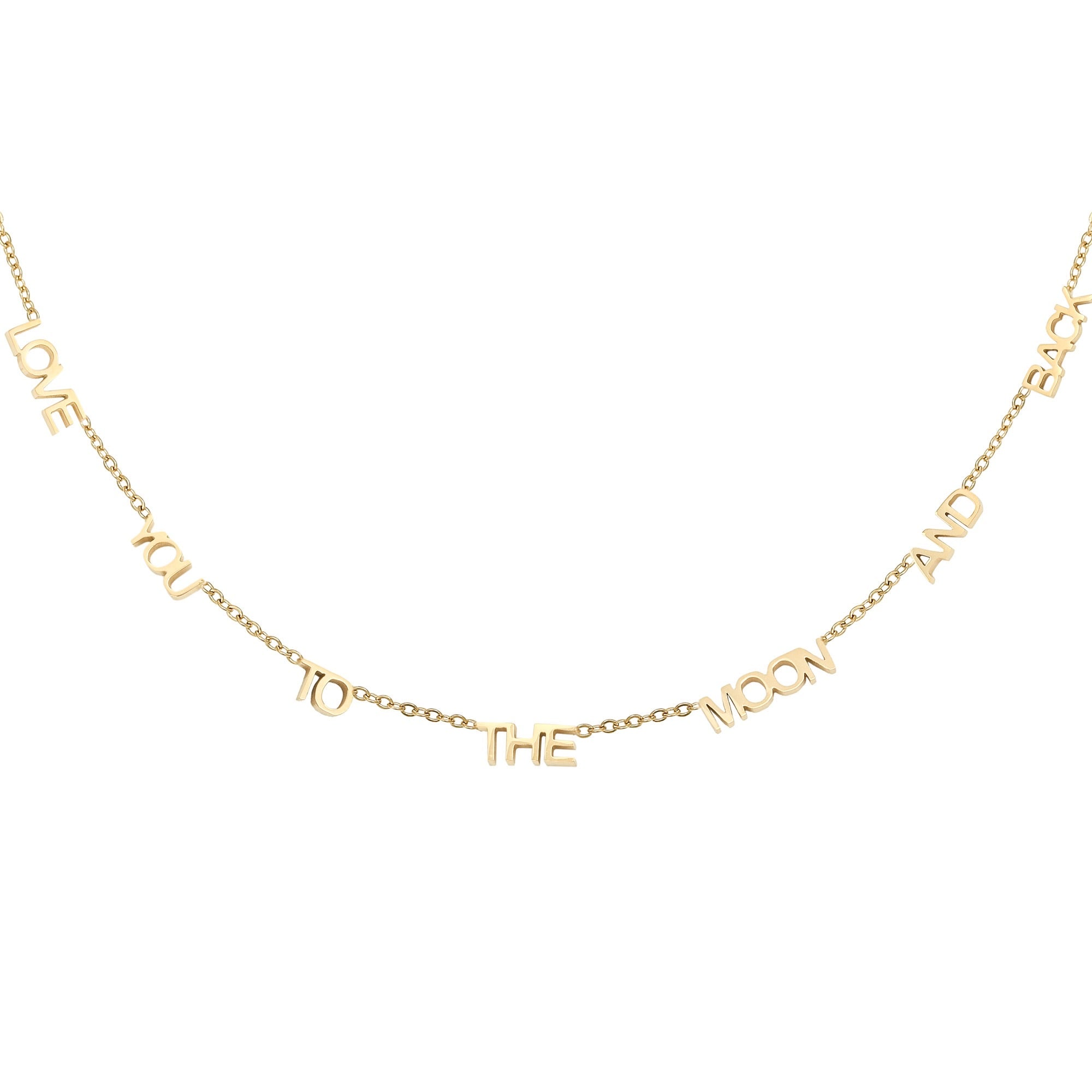 Love you to the moon necklace gold