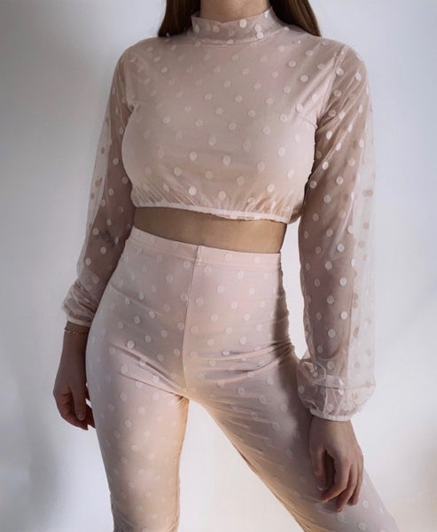 Dots two piece set pink