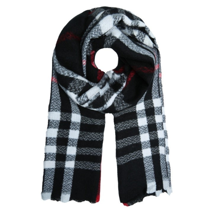 Checkered scarf black