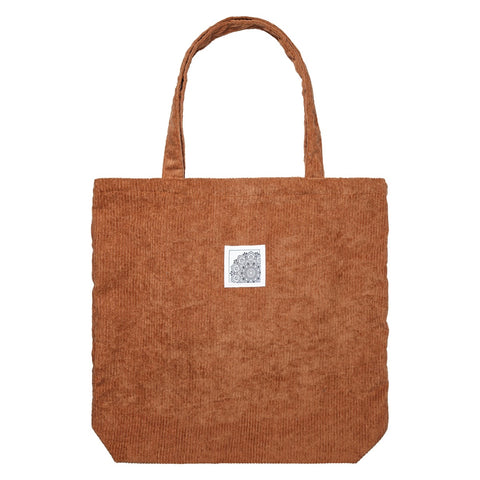 Corduroy tote bag brown