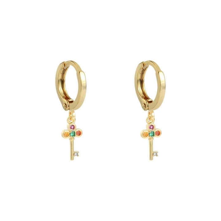 Key earrings gold