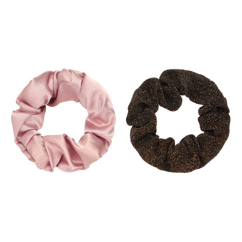 Scrunchie set of two pink & brown