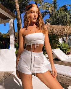 Bandeau two piece set white