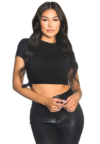 LA Sisters side knot crop top black