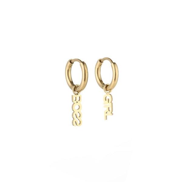 Boss girl earrings gold