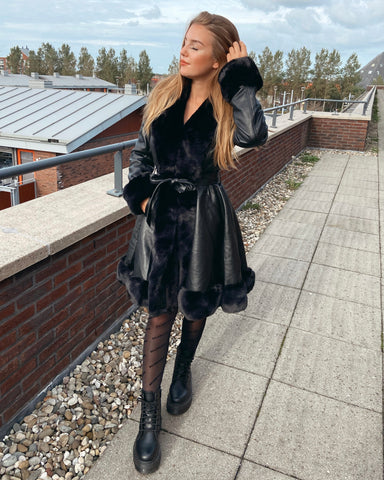 Faux fur belted coat long black