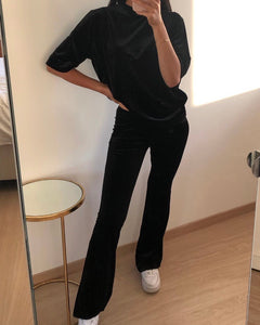Suede flared pants black