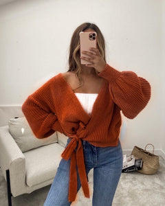 Knitted cardigan rust