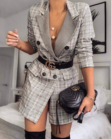Belted check blazer dress grey