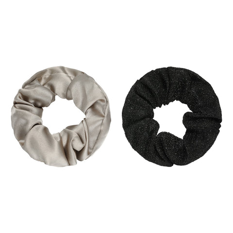 Scrunchie set of two beige & black
