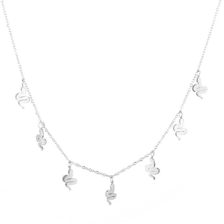 Snakes all over necklace silver
