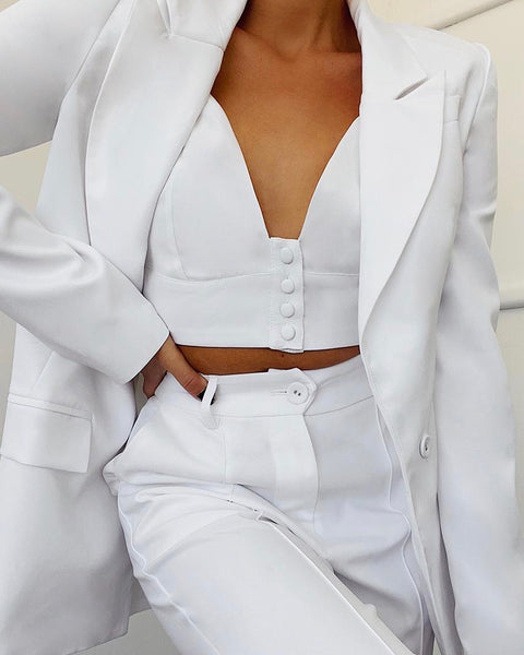Suited bralette top white