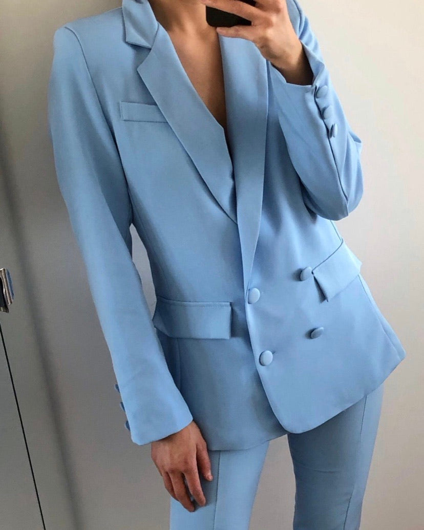Button blazer blue