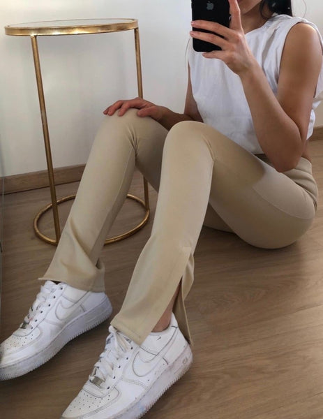 Split pants beige